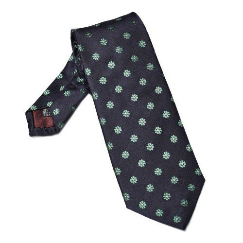 jedwabny krawat w zielone kwiatki