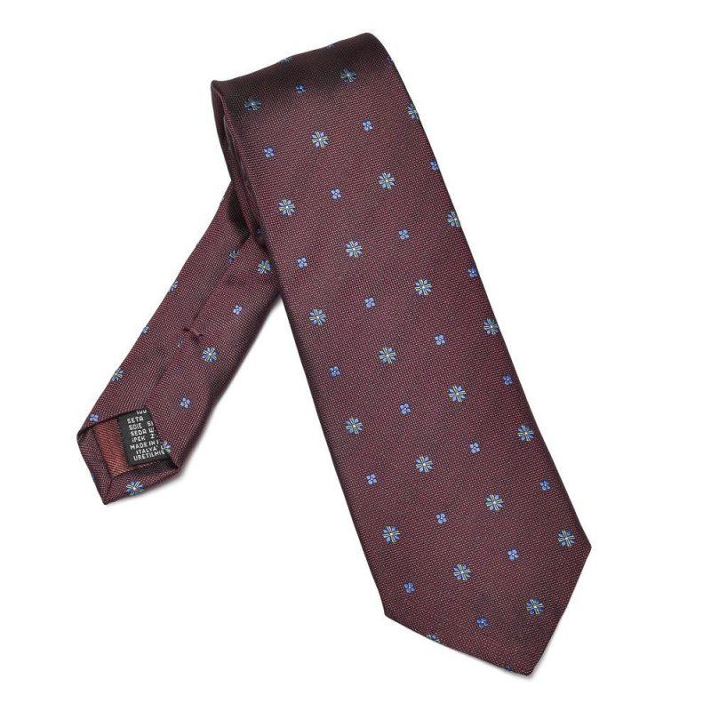 bordowy krawat VAN THORN w błękitny wzór