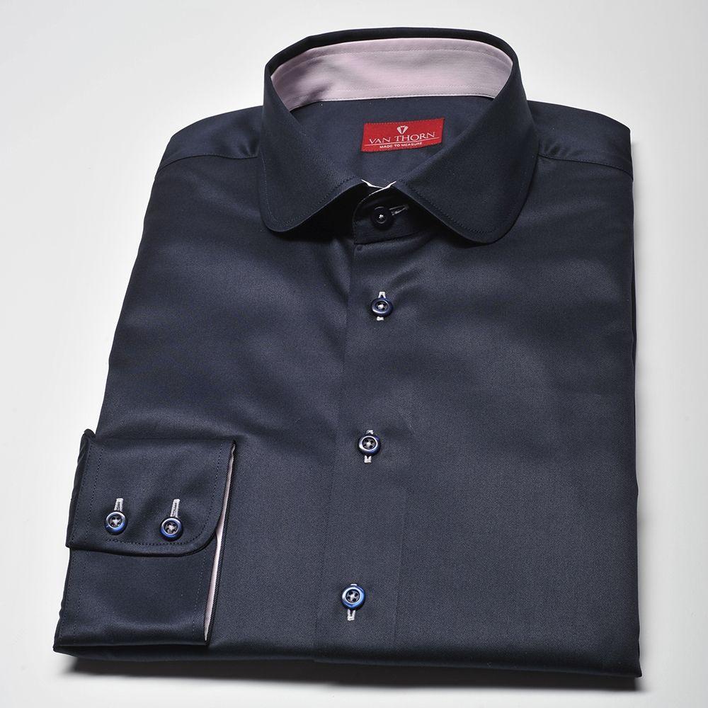 Granatowa koszula męska Slim Fit z kołnierzykiem typu club  x3ioI