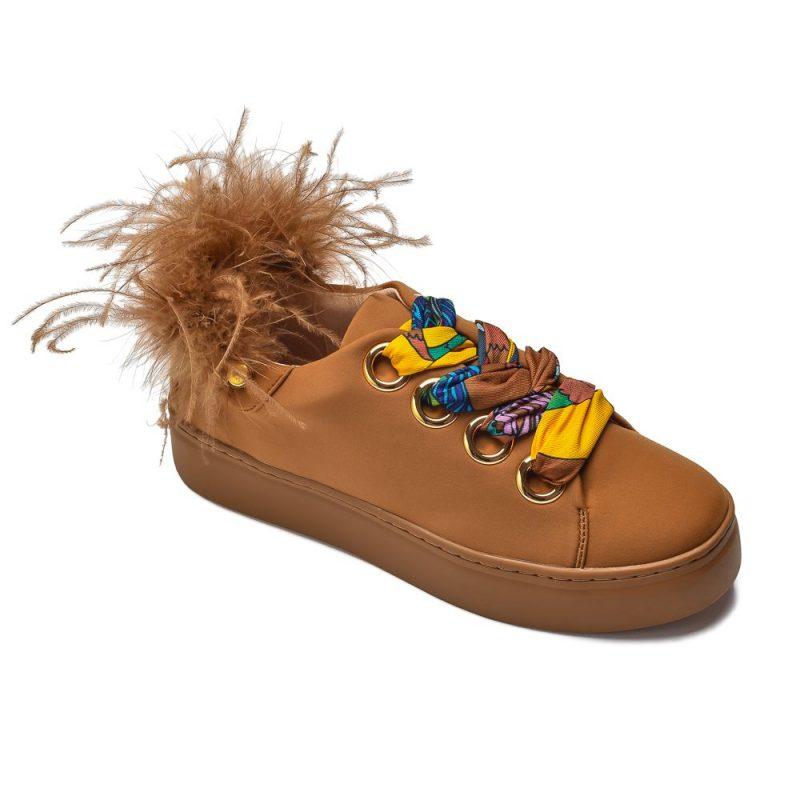 musztardowe sneakersy z piórkami Movie's