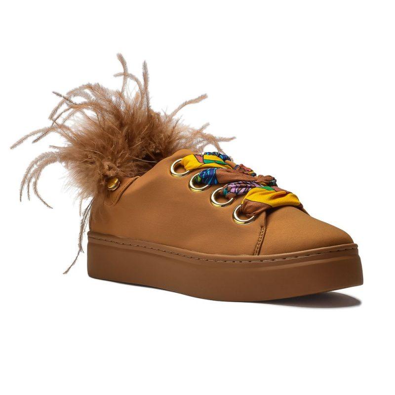 musztardowe sneakersy ze wstążkami Movie's