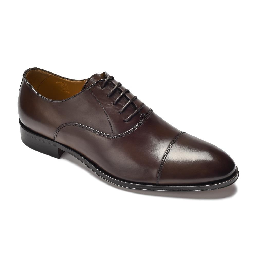 f0111243af20f Eleganckie ciemne brązowe skórzane buty męskie typu Oxford