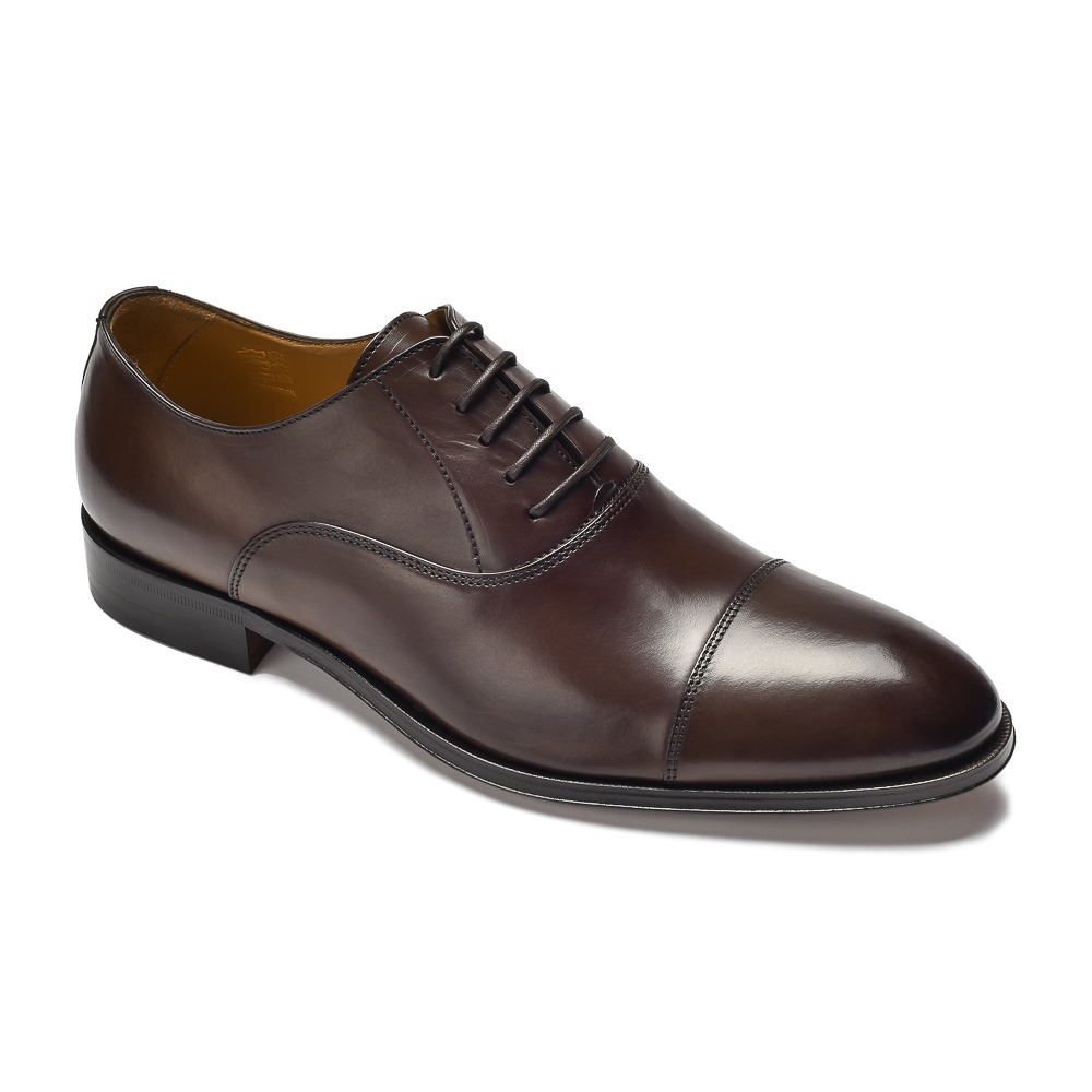 c386a21418359 Eleganckie ciemne brązowe skórzane buty męskie typu Oxford